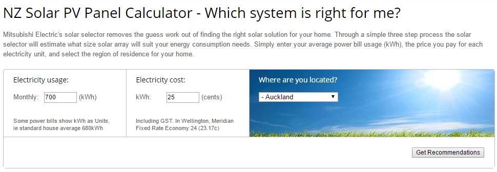 Mitsubishi Solar System Sizing Basic Information