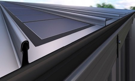 Render of roof integrating Thin Film solar